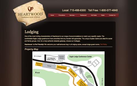 Screenshot of Services Page heartwoodconferencecenter.com - Lodging in Trego WI | Heartwood Conference Center & Retreat - captured Sept. 29, 2014