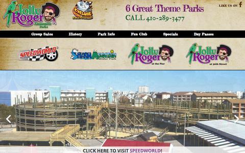 Screenshot of Home Page jollyrogerpark.com - Jolly Roger Amusement Park   Ocean City, MD - captured Sept. 24, 2015
