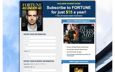 Screenshot of Landing Page fortune.com - Fortune Subscriptions - Student Offer - captured Oct. 30, 2016