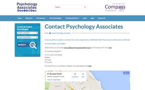 Screenshot of Contact Page psychologyassociates.org.uk - Psychology Associates | Contact Psychology Associates - captured Sept. 30, 2014