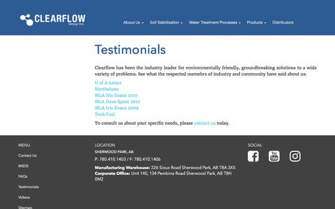 Screenshot of Testimonials Page clearflowgroup.com - Testimonials | Clearflow Group Inc. - captured Aug. 4, 2017