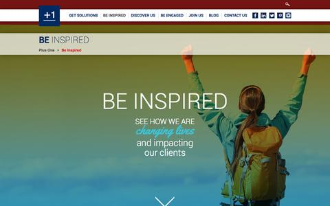 Screenshot of Case Studies Page plusonehealthmanagement.com - Be Inspired - Plus One - captured Oct. 2, 2014