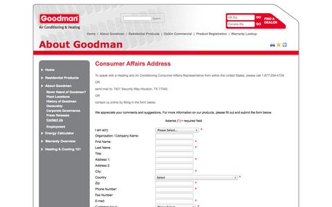 Screenshot of Contact Page goodmanmfg.com - Contact Us | Goodman®  Manufacturing - captured Sept. 19, 2014