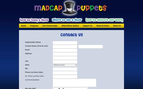 Screenshot of Contact Page madcappuppets.com - Madcap Puppets - Contact Us - captured Sept. 30, 2014