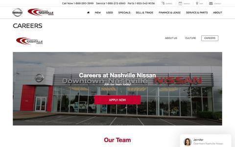 Screenshot of Jobs Page downtownnashvillenissan.com - Careers - captured Aug. 25, 2019