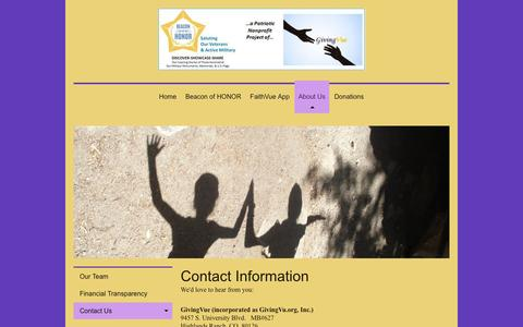 Screenshot of Contact Page faithvu.org - Beacon of Honor - a GivingVue nonprofit project - Contact Us - captured Jan. 28, 2016