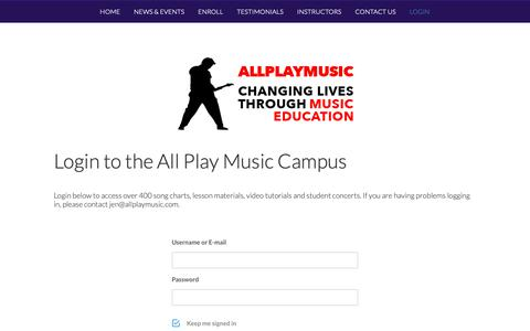 Screenshot of Login Page allplaymusic.com - Login - All Play Music - captured Nov. 6, 2018