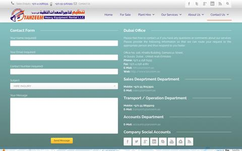 Screenshot of Contact Page tanzeem.ae - Contact Us - captured Oct. 27, 2014