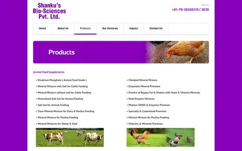 Screenshot of Products Page shankusbiosciences.com - Products List Cattle Feed Supplements, Animal Feed Supplement Manufacturers, Mineral Mixtures Suppliers Ahmedabad, Gujarat, India - captured Oct. 26, 2014