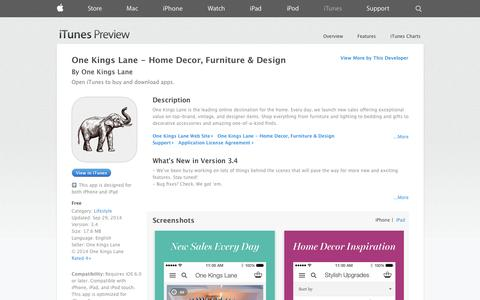 Screenshot of iOS App Page apple.com - One Kings Lane - Home Decor, Furniture & Design on the App Store on iTunes - captured Oct. 22, 2014
