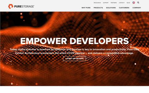 Screenshot of Developers Page purestorage.com - Empower DevOps: Continuous Integration & Delivery (CI/CD) Tools | Pure Storage - captured May 26, 2018