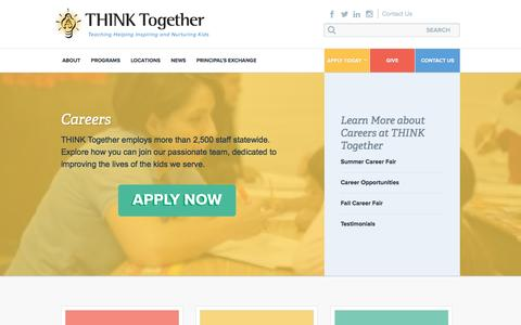 Screenshot of Jobs Page thinktogether.org - Careers - captured Nov. 21, 2016