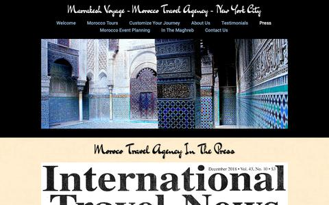 Screenshot of Press Page morocco-travel-agency.com - Morocco Travel Agency - In The Press and In The News - captured Dec. 19, 2018