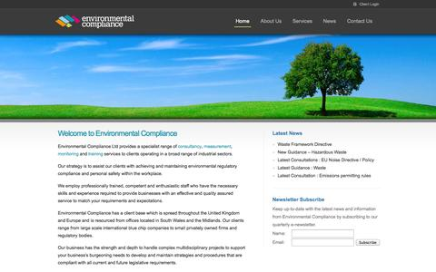 Screenshot of Home Page envirocompli.com - Environmental Compliance | UK Environmental Consultants - captured Oct. 2, 2014
