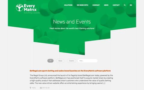Screenshot of Press Page everymatrix.com - News and Events - EveryMatrix - captured June 29, 2017