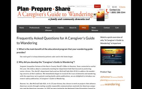 Screenshot of FAQ Page planprepareshare.com - Frequently Asked Questions for A Caregiver's Guide to Wandering - PLAN PREPARE SHARE - captured July 14, 2016