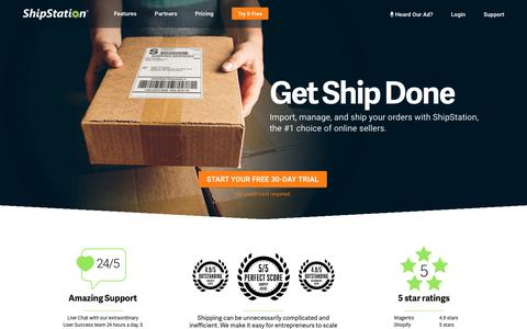 Screenshot of Home Page shipstation.com - Shipping Software for Ecommerce Fulfillment | ShipStation - captured May 20, 2017