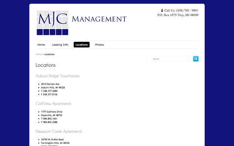 Screenshot of Locations Page mjcmanagement.com - Locations | MJC Management LLC - captured Nov. 2, 2014