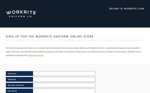 Screenshot of Signup Page workrite.com - Sign Up for a Workrite Account | Workrite Uniform Company - captured Oct. 10, 2018