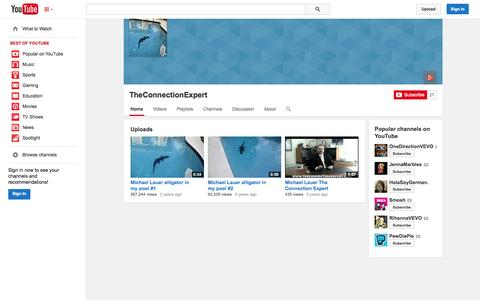 Screenshot of YouTube Page youtube.com - TheConnectionExpert  - YouTube - captured Oct. 26, 2014
