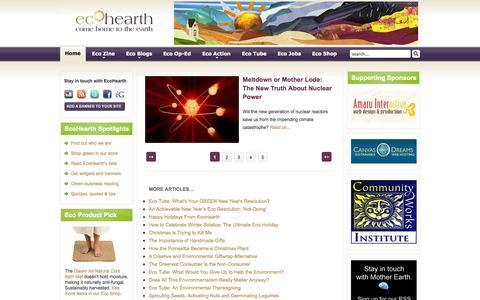 Screenshot of Home Page ecohearth.com - EcoHearth - Environmental Website - captured Jan. 26, 2015