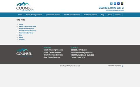 Screenshot of Site Map Page counsellawgroup.com - Site Map - captured Oct. 27, 2014