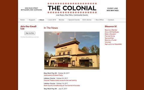 Screenshot of Press Page bethlehemcolonialtheatre.org - In The News - The Colonial Theatre | Bethlehem, NH - captured Jan. 27, 2018