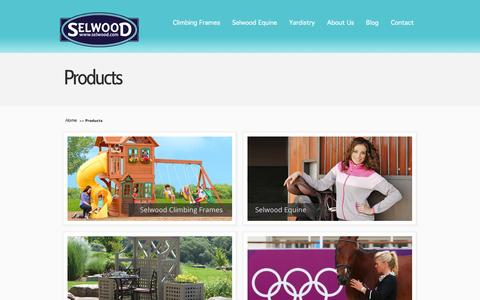 Screenshot of Products Page selwood.com - Selwood Products - Climbing Frames, Equine & Yardistry Ranges - captured Sept. 22, 2014