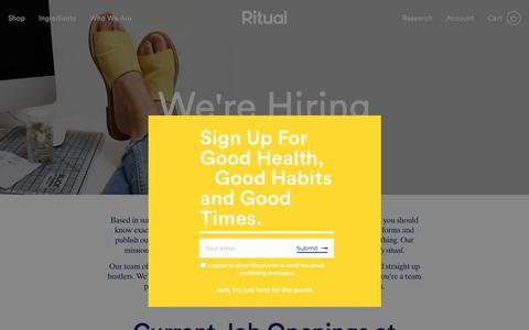 Screenshot of Jobs Page ritual.com - Ritual   Ritual   We're Hiring - captured July 8, 2018