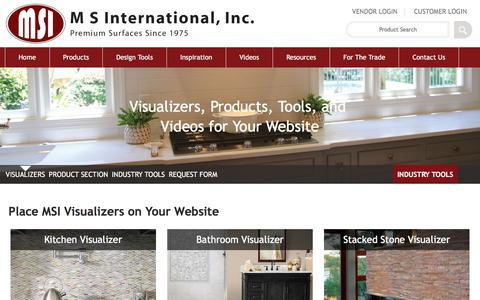 Screenshot of msistone.com - Industry professionals – Place MSI Visualizers on Your Website! - captured Jan. 3, 2018