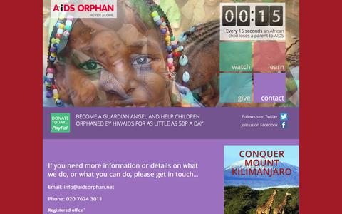 Screenshot of Contact Page aidsorphan.net - AIDS Orphan| Contact us Phone: 020 7624 3011 - captured Dec. 24, 2015