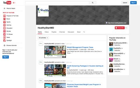 Screenshot of YouTube Page youtube.com - HealthyStartMD  - YouTube - captured Oct. 22, 2014