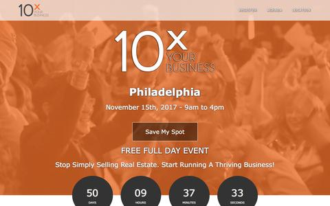 Screenshot of Landing Page tomferry.com - Philadelphia 10X Your Business | Tom Ferry - Your Coach - captured Sept. 25, 2017