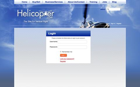 Screenshot of Login Page helicopter.com - Login/Register at Helicopter.com - captured Jan. 28, 2016