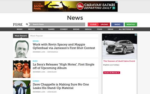 Screenshot of Press Page pastemagazine.com - News :: Paste - captured Dec. 3, 2015