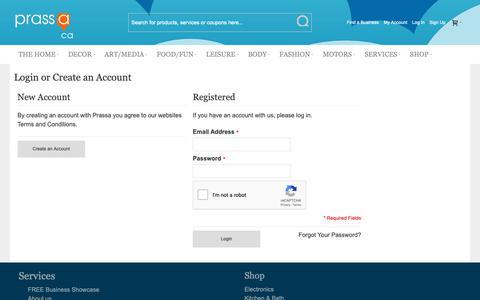 Screenshot of Login Page prassa.ca - Customer Login     Prassa - captured Sept. 29, 2018