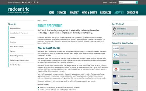 Screenshot of About Page redcentricplc.com - About Us | Managed Services Provider | Redcentric - captured March 30, 2018
