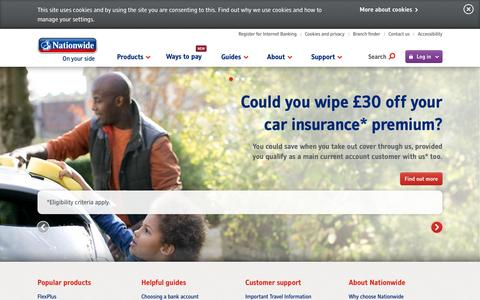 Screenshot of Home Page nationwide.co.uk - Nationwide: Savings, Mortgages, Current Accounts, Loans, Insurance - captured Oct. 7, 2015