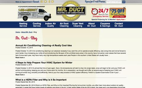 Screenshot of Blog mrductcleaning.com - Mr Duct - Blog - captured Oct. 26, 2014