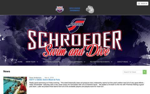 Screenshot of Press Page teamunify.com - Schroeder YMCA Swim/Dive Team - News - captured Nov. 15, 2018
