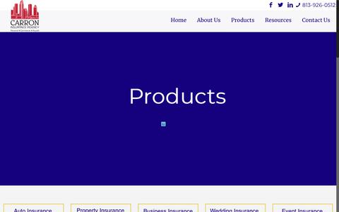 Screenshot of Products Page thecarrons.com - Products – Carron Insurance Agency - captured Sept. 26, 2018