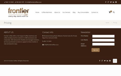 Screenshot of Pricing Page frontiercoffee.co.za - Pricing | Frontier Coffee - captured Jan. 8, 2016