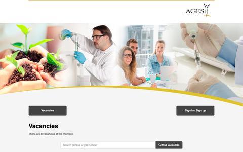 Screenshot of Jobs Page ages.at - Job Portal - captured Sept. 23, 2018