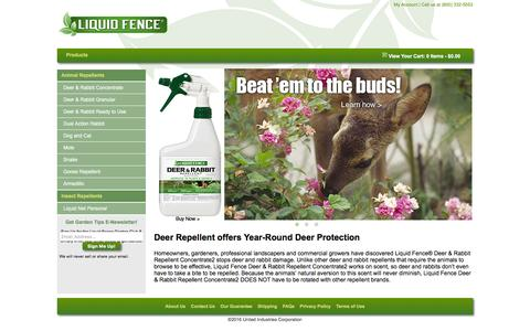 Screenshot of Home Page liquidfence.com - Liquid Fence - Guard your yard against animal pests - captured Feb. 13, 2016