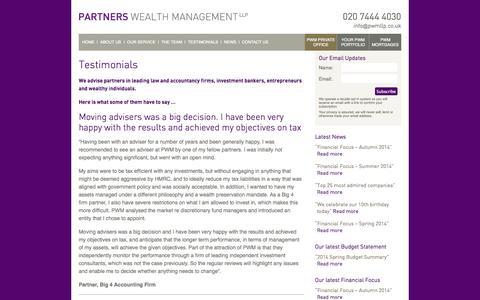 Screenshot of Testimonials Page partnerswealthmanagement.co.uk - Partners Wealth Management | Testimonials | Partners Wealth Management - captured Sept. 29, 2014