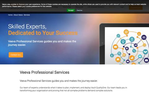 Screenshot of Services Page veeva.com - Vault QualityOne Services  | Veeva Vault - captured July 8, 2018
