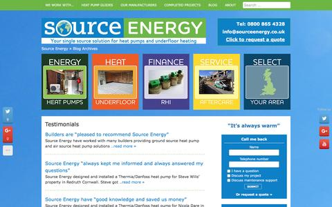 Screenshot of Testimonials Page sourceenergy.co.uk - Testimonials Archive - Source Energy - captured Feb. 15, 2016