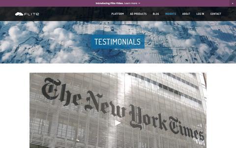 Screenshot of Testimonials Page flite.com - Testimonials · Flite - captured July 3, 2016
