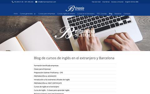 Screenshot of Blog britanniaschool.com - Blog de cursos de inglés en el extranjero y Barcelona - captured Nov. 6, 2018
