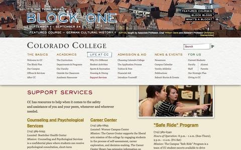 Screenshot of Support Page coloradocollege.edu - Support Services •  Colorado College - captured Sept. 18, 2014